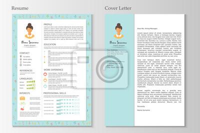 Weiblicher Lebenslauf Und Anschreiben Mit Infographik Design