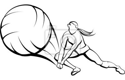 Weiblicher Volleyballspieler, der einen Ball zurückgräbt
