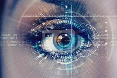 Fototapete Weibliches digitales Auge