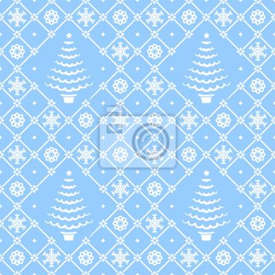 Weihnachten Blau Weiss Nahtlose Muster Hintergrund Tapete