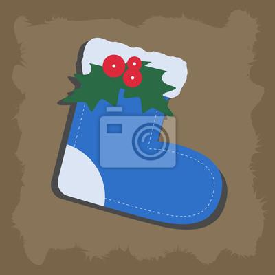 Fototapete Weihnachten Blaue Socke. Muster, Zum Des Weihnachtsbaums Oder  Des Hauses Zu Verzieren
