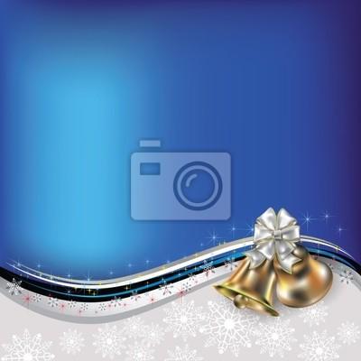 Weihnachten blauen Gruß mit Glocken und Bogen