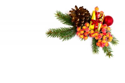 Der Weihnachtsbaum.Fototapete Weihnachten Dekoration Mit Zweig Der Weihnachtsbaum Geschenk Box