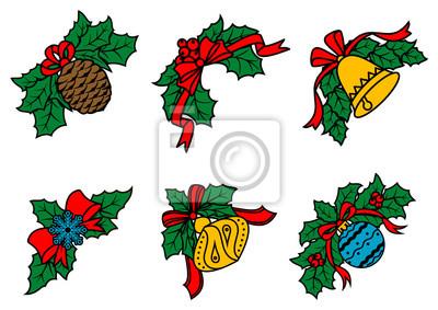 Weihnachten Dekore auf Blättern mit roten Bändern