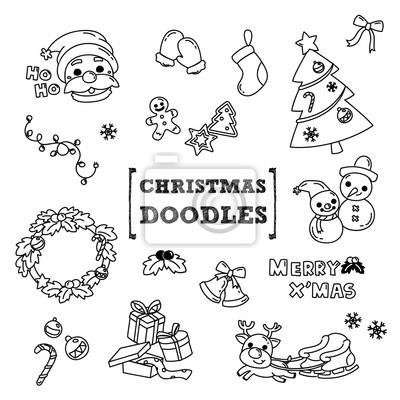 Fototapete Weihnachten Doodle Hand Zeichnung Stile Von Weihnachten
