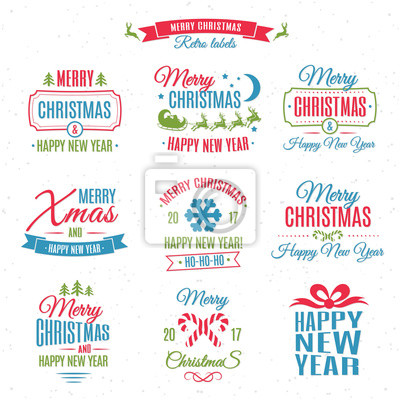 Frohe Weihnachten Etiketten.Fototapete Weihnachten Etiketten Element Vektor Gesetzt Farbe Stil Mit Santa