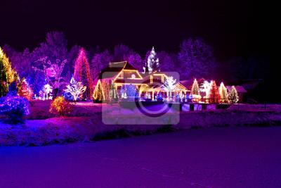 Weihnachten Mit Fantasy.Fototapete Weihnachten Fantasy Park Wald Lodge In Weihnachtslichter