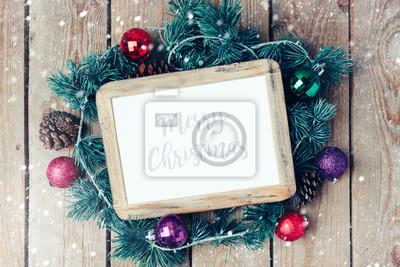 Fotorahmen Weihnachten.Fototapete Weihnachten Fotorahmen Mock Up Vorlage Mit Dekoration Ansicht