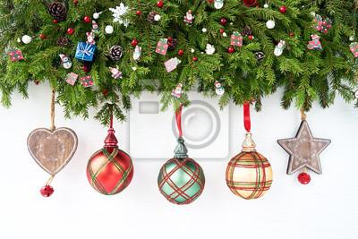 Weihnachten Hintergrund.Fototapete Weihnachten Hintergrund Weihnachten Tanne Mit Dekoration Auf