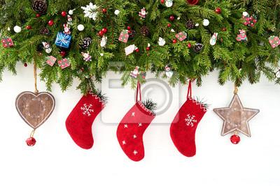 Hintergrund Weihnachten.Fototapete Weihnachten Hintergrund Weihnachten Tanne Mit Weihnachten Socken