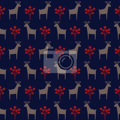 Fototapete Weihnachten Hirsch mit Beeren nahtlose Muster. Netter Karikaturnaturhintergrund. Weihnachten Stil Tier Illustration. Urlaub Design für Textilien, Tapeten, Stoffe.