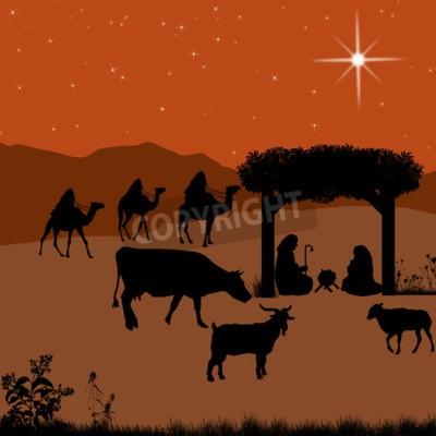 Bilder Weihnachten Krippe.Fototapete Weihnachten Krippe Mit Baby Jesus In Der Krippe Mit Maria Und