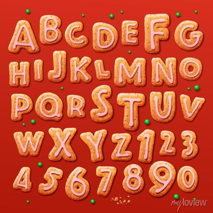 Fototapete Weihnachten Lebkuchen Alphabet und Zahlen