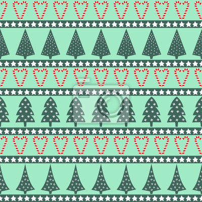 Fototapete Weihnachten Muster - abwechslungsreiche Weihnachtsbäume, Sterne und Zuckerstangen. Happy New Year und Merry Xmas nahtlose Hintergrund. Vector Design für Winterurlaub auf Minze-Hintergrund.