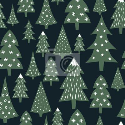 Fototapete Weihnachten Muster - abwechslungsreiche Weihnachtsbäume und Schneeflocken. Einfache nahtlose Happy New Year Hintergrund. Vector Design für den Winterurlaub auf dunkelblauem Hintergrund. Kind Zeichnung