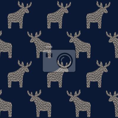 Fototapete Weihnachten Muster mit Rentier auf dunkelblauem Hintergrund. Einfache nahtlose Happy New Year Hintergrund. Winterurlaub Vektor-Design für Textil-, Tapeten-, Web-, Verpackungspapier, Stoff, Dekor usw.