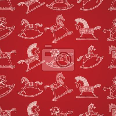 Weihnachten Muster mit Schaukelpferde, vector eps10 Bild.