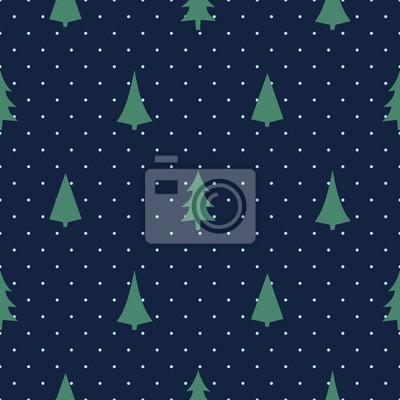 Fototapete Weihnachten Muster mit verschiedenen Weihnachtsbäumen und Schneeflocken auf Polka Dots Hintergrund. Happy New Year Hintergrund. Vector Design für Textil-, Tapeten-, Stoff-, Verpackungspapier.