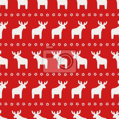 Fototapete Weihnachten Muster - Weihnachten Rentier und Sterne auf rotem Hintergrund. Happy New Year nahtlose Hintergrund. Winterurlaub Vektor-Design für Textil-, Tapeten-, Web-, Verpackungspapier, Stoff, Dekor