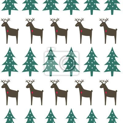 Fototapete Weihnachten Muster - Weihnachtsbäume, Hirsche und Schneeflocken. Happy New Year nahtlose Hintergrund. Einfache Vektor Winterurlaub Design für Textil-, Tapeten, Geschenkpapier, Stoff, Dekor.