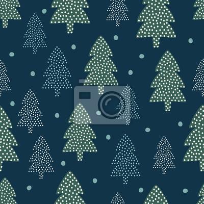 Fototapete Weihnachten Muster - Weihnachtsbäume und Schnee. Happy New Year Natur nahtlose Hintergrund. Waldgestaltung für Winterferien. Vector Winterurlaubsdruck für Gewebe, Tapete, Gewebe, Tapete.