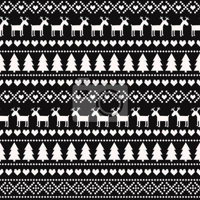Fototapete Weihnachten nahtlose Muster auf schwarzem Hintergrund.