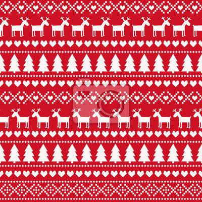 Fototapete Weihnachten nahtlose Muster, Karte - skandinavischen Pullover-Stil. Nette Weihnachten Hintergrund - Weihnachtsbäume, Hirsche, Herzen und Schneeflocken. Design für Textilien, Tapeten, Gewebe, Stoff, De
