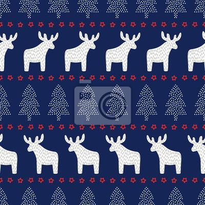 Fototapete Weihnachten nahtlose Muster. Nette Weihnachten Hintergrund - Weihnachtsbäume, Hirsche und Sterne. Skandinavischen Pullover-Stil. Design für Textil-, Tapeten-, Web-, Verpackungspapier, Stoff, Dekor etc