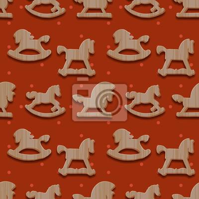 Weihnachten nahtlose Muster Schaukeln Spielzeug Pferde, vector eps10.
