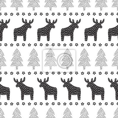 Fototapete Weihnachten nahtlose Muster. Schwarz und weiß Weihnachten Hintergrund - Weihnachtsbäume, Hirsche und Sterne. Skandinavischen Pullover-Stil. Design für Textilien, Tapeten, Gewebe, Stoff, Dekor etc.