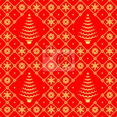 fototapete weihnachten rot und gold nahtlose muster hintergrund tapete - Tapete Rot Muster