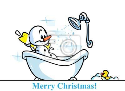 Weihnachten Schneemann Charakter Badewanne Cartoon Illustration