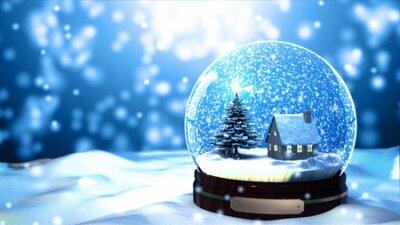 Fototapete Weihnachten Snow Globe Schneeflocke close-up