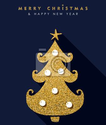 Weihnachten und neujahr gold glitzer kiefer karte fototapete ...