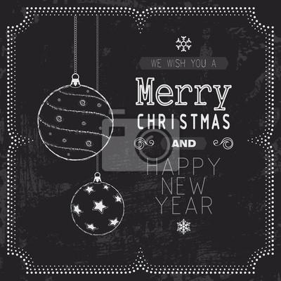 Weihnachten und Neujahr Grußkarte auf Tafel