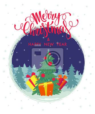 Weihnachten und neujahr karte fototapete • fototapeten merry ...