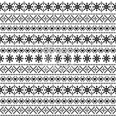 Fototapete Weihnachten und Neujahr Ornamentmuster mit Schneeflocken. Schwarz-Weiß-nahtlose Hintergrund für den Winterurlaub. Abbildung.