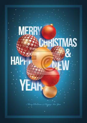 Weihnachten und Neujahr Poster Design