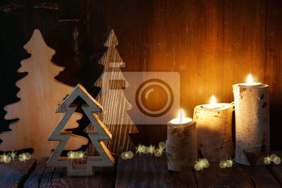 Fototapete Weihnachten, Weihnachtsdekoration Aus Holz, Tannenbäume, Kerzen,  Stimmungsvoll, Exemplarplatz