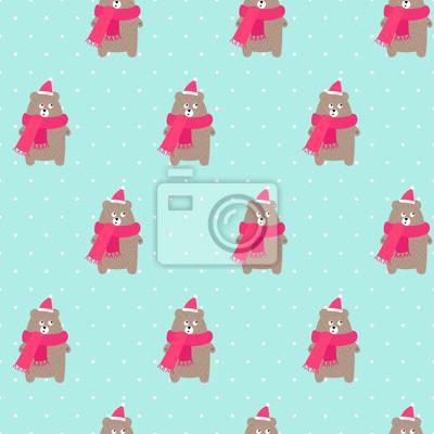 Fototapete Weihnachtsbär im Feiertagshut und -schal mit nahtlosem Muster der Schneeflocken auf tadellosem grünem Hintergrund der Tupfen. Weihnachtsdesign für Textil, Tapete, Stoff.