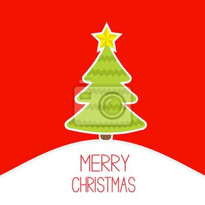 Weihnachtsbaum auf einem verschneiten Hügel. Merry Christmas card.