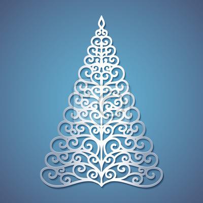 Weihnachtskarten Bedrucken.Fototapete Weihnachtsbaum Aus Papier Geschnitten Vorlage Für Weihnachtskarten