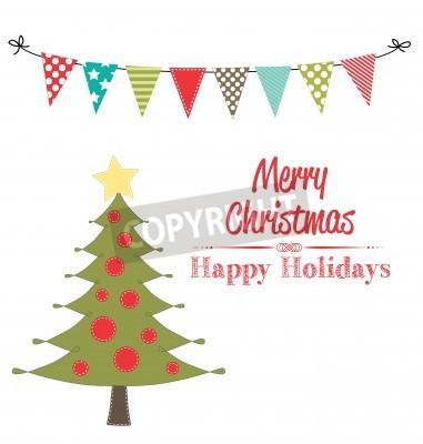 Weihnachtsbaum Clipart.Fototapete Weihnachtsbaum Clipart Mit Banner Oder Bunting Auf Transparentem
