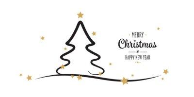Sterne Für Weihnachtsbaum.Fototapete Weihnachtsbaum Gold Sterne Grüße Weißen Hintergrund