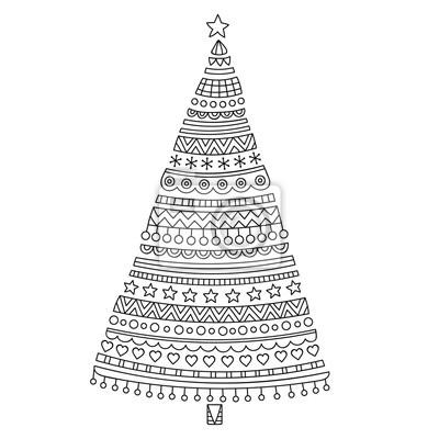 weihnachtsbaum hand gezeichnet doodle weihnachten fichte. Black Bedroom Furniture Sets. Home Design Ideas