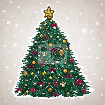 Weihnachtsbaum Gezeichnet.Fototapete Weihnachtsbaum Hand Gezeichnet Stil Mit Schönen Dekorationen