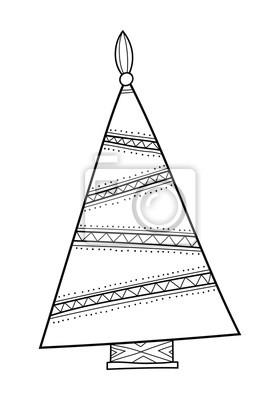 Weihnachtsbaum Schwarz Weiß.Fototapete Weihnachtsbaum Mit Dekorativen Mustern Schwarz Weiß Illustration