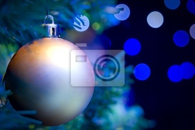 Fototapete Weihnachtsbaum mit roten und goldenen Ornamenten und Lichter