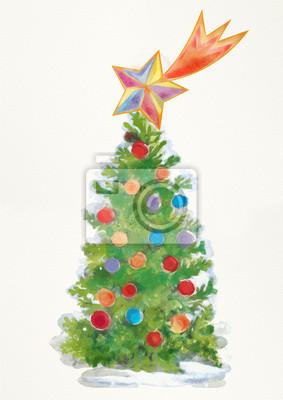 Stern Auf Weihnachtsbaum.Weihnachtsbaum Mit Stern Von Bethlehem Aquarellkarte Fototapete