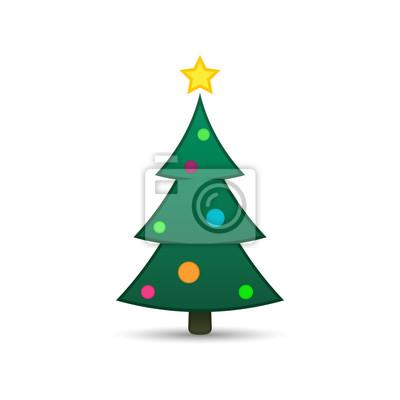 Fototapete Weihnachtsbaum Symbol Einfaches Design Vektor Gruner Tannenbaum